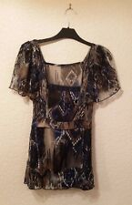 Per Una Navy/Beige Top, Lace Sleeves & Panel Inserts Plus Navy Vest Top Size 18