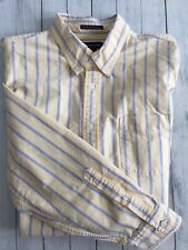 Men's Lands' End LS Button Shirt Cotton Yellow Blue Red Stripe 16-16.5 Large