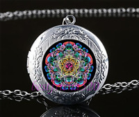 Om Mandala Photo Cabochon Glass Tibet Silver Locket Pendant Necklace#A5
