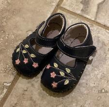 Pediped Navy Floral Mary Janes Baby Shoes- Size 0-6 Months EUC