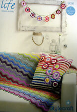 Stylecraft  DK Crochet pattern blanket  cushion and bunting 9091