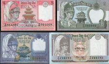 * NEPAL 1 - 2 - 5 - 10 Rupees (4) Banknotes GEM UNC