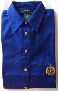 Lauren By Ralph Lauren Men Dress Shirt Blue Big Medallion Gold Button L/S Medium