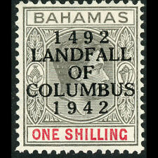 BAHAMAS 1942 Landfall 1s Black & Carmine. SG 171*. Lightly Hinged Mint. (AF323)