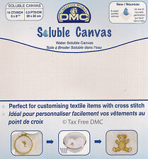 "VAT Free DMC 14 Count Cross Stitch Soluble Canvas 8"" x 8.5"" (20cm x 22cm) New"