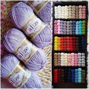 Alize Diva Silky Effect Knitting Crochet Yarn Wool, 100gr, microfiber acrylic