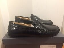 ECCO Black Reptile Effect Driving Moccasins Shoes Sizes UK 11