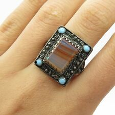 Antq 925 Sterling Silver Real Agate Turquoise Gemstone Handmade Ring Size 5.5