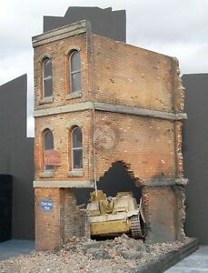 """Dioramas Plus 1/35 """"Brick Ruins"""" Ruined 3-Story Building Section Europe WWII DP1"""