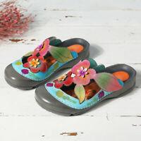 SOCOFY Women Leather Splicing Slippers Slingbacks Adjustable Hook Loop Shoes 5