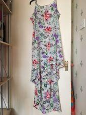 Size 12/14 Short Front Long Back Adjustable Strap Dress White Multi Colour Beach