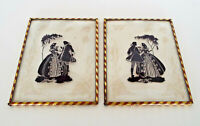 """Vintage Framed Silhouettes 4"""" x 5"""" Hand Painted Bubble Glass Pair Victorian Lot"""