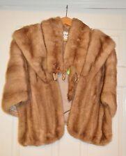 VINTAGE LUXURY GOLDEN BLONDE REAL MINK FUR STOLE WRAP 1950s 2 Full Mink Collar