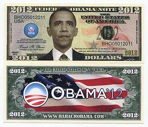 Barack Obama Dollars Color Novelty Money Note 2012 Elections