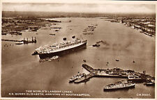 s.s. queen elizabeth. southampton -  real photo card ( old shop stock )