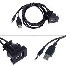 AUX Extension Cable Lead Mounting Panel Car Boat Dash Flush Mount USB Port 1pcs