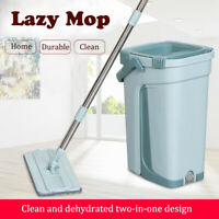 Flat Microfibre Mop and Bucket Set 360° Cleaning Corner Home Cleaning 2 PADS