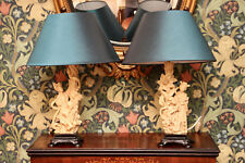 A Beautiful Pair of Oriental, Figural Lamps & Shades in the Manner of Okimono