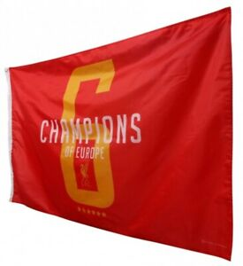 LIVERPOOL FC OFFICIAL CHAMPIONS OF EUROPE - 6 - FLAG 150x90cm BNWT ⭐️⭐️⭐️⭐️⭐️⭐️