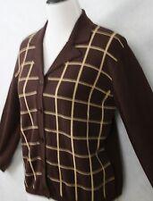 Rena Rowan Stunning Brown Wool Blend Checkered Cardigan SZ M EUC