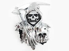 3D CUSTOM CHROME Grim Reaper Skull Skeleton EMBLEM BADGE STICKER DECAL