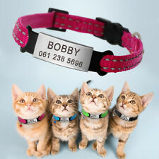 Quick Release Cat Collars Reflective Strips with Slide On Cat Tags Name Engraved