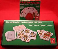 **SKAT-ROMMÉ-CANASTA-BRIDGE-**Kartenspielkassette mit Karten-Halter**ASS**Neu