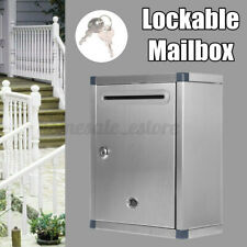 Stainless Steel Mail Letter Post Storage Box Outdoor Lockable Mailbox Wall