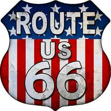 Route 66 American Flag Background Aluminum Metal Novelty Highway Shield Sign