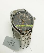 NEW FOSSIL SILVER TONE,ROSE GOLD,CRYSTAL,MULTIFUNCTION,BRACELET WATCH BQ3165IE