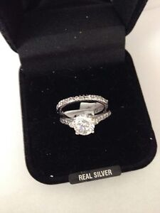 """STERLING SILVER R/P CLR CZ RING & FULL BAND ETERNITY SET SIZE """"L"""""""