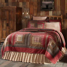 Rustic Patchwork Quilt SET Queen Size +Shams +Bed Skirt 2 Pillow Cases Red Green