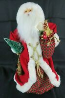 "Vintage Christmas Santa Claus Figurine 18"" Tree Topper Argyle Bag with Toys"