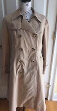 "Vintage AQUASCUTUM ""AQUA 5"" Tan Cotton Blend Wool Lined TRENCH Coat"