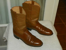 JUSTIN Carmel Leather Roper Cowboy Boots Womens Size 8 B Style L3884 USA