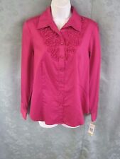 "Jones New York Shirt Size Small Ruffled Front NWT ""Woodberry"" NEW 100% Cotton"