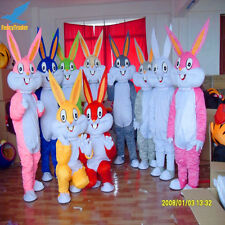 Yellow Easter Bunny Dressing Adult Parade Rabbit Bugs Mascot Costume Outfit Suit