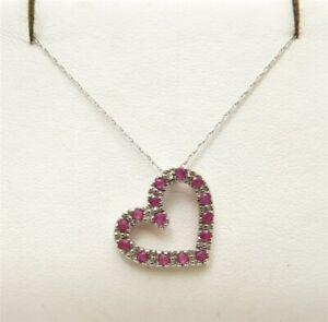 "10K White Gold Ruby & Diamond Accent Heart Shape Pendant Necklace 18"""