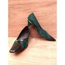 Vintage Rangoni green suede gold accent square toe low heel women's 8.5