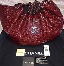 Auth CHANEL Large Bordeaux Quilted Patent Leather Drawstring Tote Bag ITALY