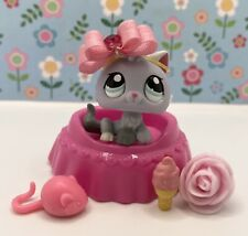 Authentic Littlest Pet Shop # 1301 Gray Silver White Baby Kitten Cat Blue Eyes