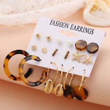 Women Shell Leopard Acrylic Metal Earrings Hoop Boho 9Pairs Earring Set Jewelry