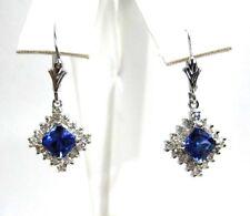 Tanzanite Earrings 18K white Gold Halo Diamond CERTIFIED AAA+ D BLOCK $3,885