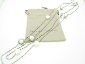 """David Yurman Sterling Silver Cable Wrapped Pearl Long Station Necklace 50"""" - A"""