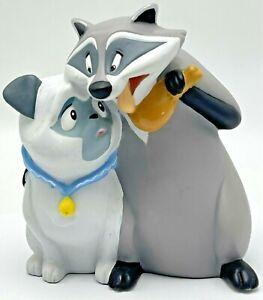 Vintage Disney Pocahontas Vinyl Coin Piggy Bank Meeko and Percy Dog Pug Raccoon