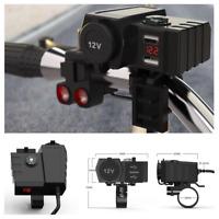 Dual USB Port Charger Socket Outlet Motorcycle Handlebar Mount Compass Voltmeter