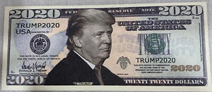 * 3 Donald Trump 2020 For President Re-Election Campaign $20 Dollar Bill Note