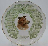 Antique NC Co Porcela 1909 Calendar Plate Farmers Eureka Store Weyant, PA Collie