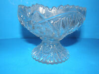 VINTAGE PEDESTAL GLASS CANDY DISH WITHOUT LID FLORAL DESIGN SCALLOPED EDGE
