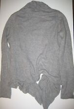 Cascading ruffle ruched 100% cashmere open soft gray cardigan